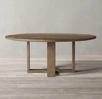 WYETH SPLIT BAMBOO CROSS-BASE ROUND DINING TABLE Weathered Grey Bamboo - RH