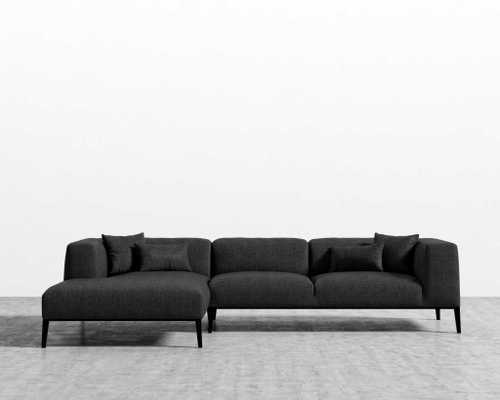 Finley Sectional - Glacier Grey Black Stainless Steel Left-hand-facin - Rove Concepts