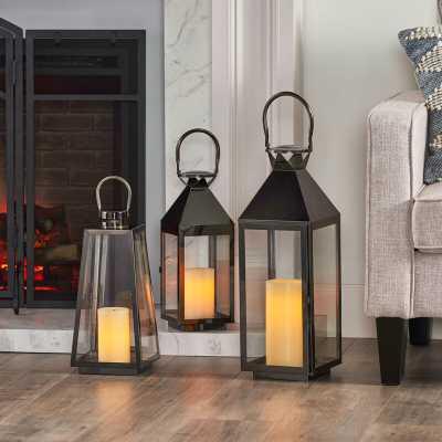 3 Piece Tall Stainless Steel Lantern Set - Wayfair