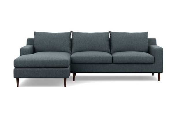 Sloan Chaise Sectional with Rain Fabric and Oiled Walnut legs - Interior Define