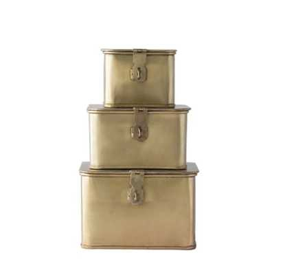 Set of 3 Square Decorative Metal Boxes in Brass Finish design by BD Edition - Burke Decor