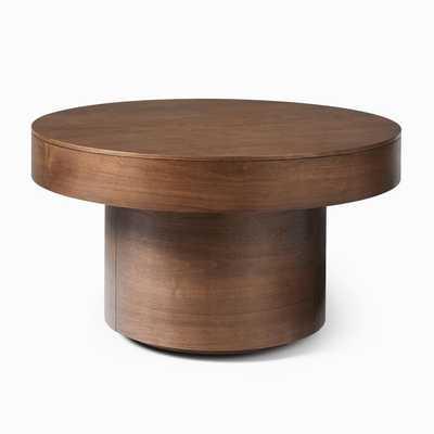 Volume Round Pedestal Coffee Table - Wood - West Elm