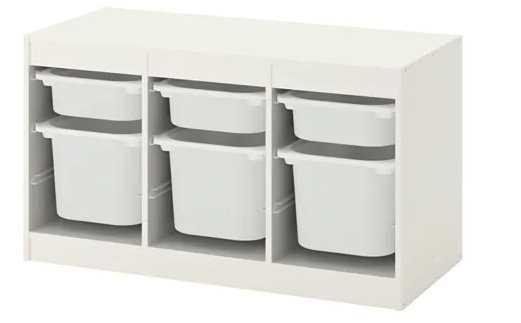 TROFAST Storage combination with boxes, white, white - Ikea