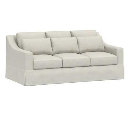 York Slope Arm Slipcovered Deep Seat Sofa, Down Blend Wrapped Cushions, Performance Heathered Basketweave Dove - Pottery Barn