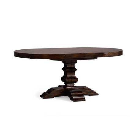 "Banks Extending Pedestal Dining Table, 48"" - 72"" L, Alfresco Brown finish - Pottery Barn"