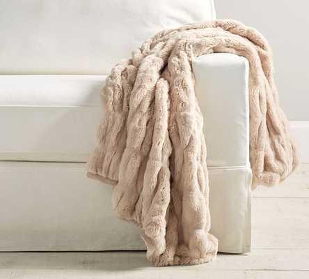 "Faux Fur Throw, 50 x 60"", Ruched Champayne Blush - Pottery Barn"