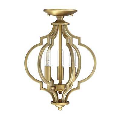 Millis 3-Light Semi Flush Mount, Natural Brass - Wayfair