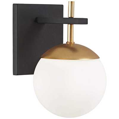 """George Kovacs Alluria 9 3/4"""" High Black and Gold Wall Sconce - Style # 56G90 - Lamps Plus"""