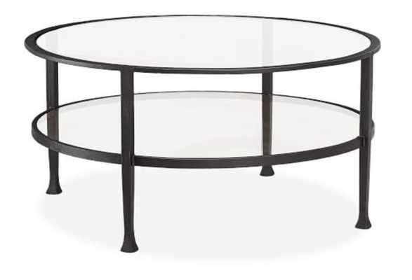 "Tanner Round Coffee Table, Blackened Bronze, 36""L - Pottery Barn"