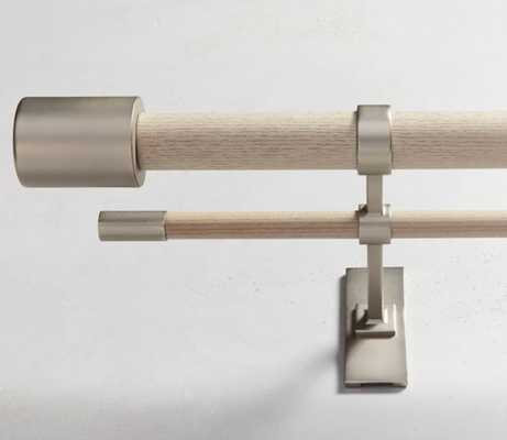 """Mid Century Rod + 3 Brackets, White Washed/Brushed Nickel. 44""""-108"""" - West Elm"""