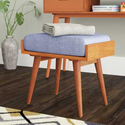 Emily Solid Wood Vanity Stool - Blue - Wayfair