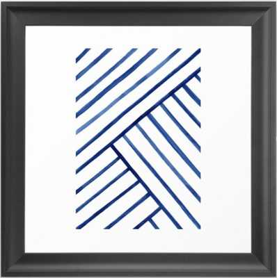 Watercolor lines pattern | Navy blue Framed Art Print - Society6
