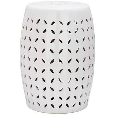 Safavieh Lattice Petal White Ceramic Garden Stool - Lamps Plus