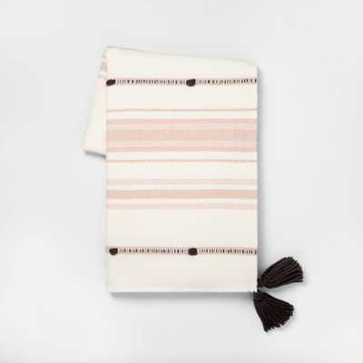 Throw Blanket Dusty Pink Stripe with Poms - Hearth & Hand with Magnolia, Size: 55x80 inches - Target