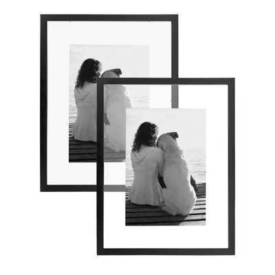 DesignOvation Gallery 14x18 Float Black Picture Frame Set of 2 - Home Depot