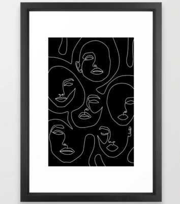 Faces in Dark Framed Art Print - Society6