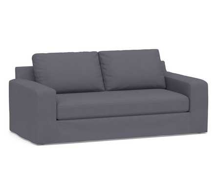"Big Sur Square Arm Slipcovered Sofa 82"" with Bench Cushion, Down Blend Wrapped Cushions, Washed Canvas Storm Blue - Pottery Barn"