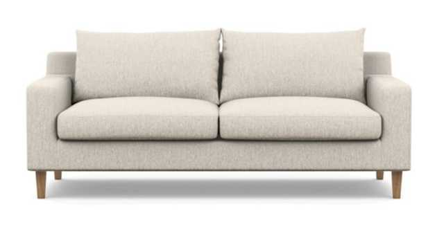 """Sloan Sofa 83"""" with Wheat Fabric and Oiled Walnut with Natural Oak legs, - Interior Define"""