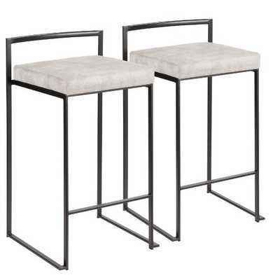 FUJI BLACK METAL COUNTER STOOL- Set of 2 - Hollis Modern