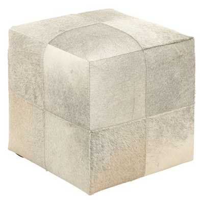 DecMode Cube Leather Hide Ottoman Item - Hayneedle