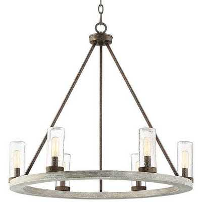 "Lillian 27"" Wide Gray Wood Ring Wagon Wheel Chandelier - Lamps Plus"