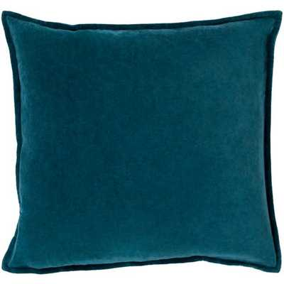 "Cotton Velvet Pillow in Teal by Surya - 20"" with Poly Insert - Burke Decor"