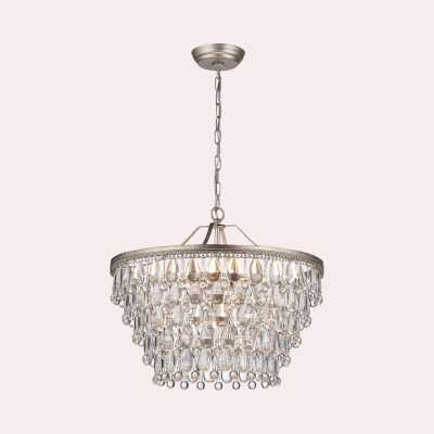 Camille 6 - Light Unique / Statement Tiered Chandelier with Crystal Accents - Wayfair
