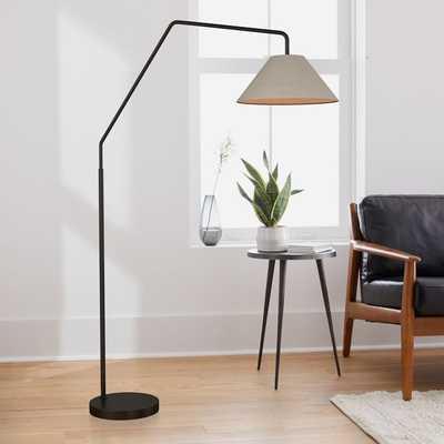 "Sculptural Overarching Floor Lamp, Fabric Cone 18"", Natural, Antique Bronze - West Elm"