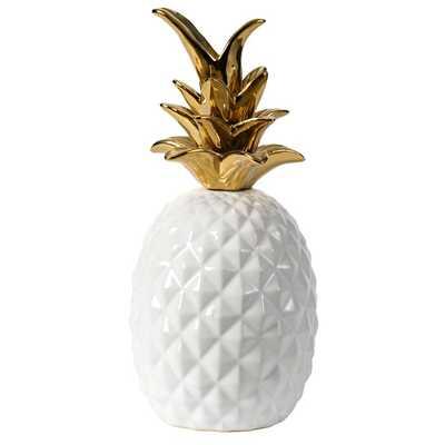 """Cathleen 10"""" Ceramic Pineapple - White, Gold - Wayfair"""