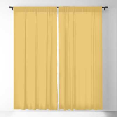 Goldy Solid Yellow Blackout Curtain Set of 2 - Society6