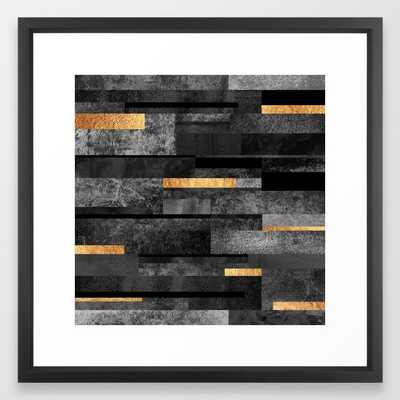 Urban Black & Gold Framed Art Print // 22x22 // Vector Black frame - Society6