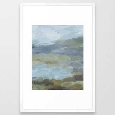 Diptych II - Sky Gray Blue Sage Green Abstract Wall Art, Painting Art, Lake Nature Print Portrait Framed Art Print - Society6