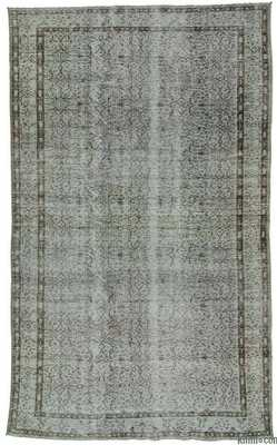Grey Over-dyed Turkish Vintage Rug - 6'2'' x 10' (74 in. x 120 in.) - Kilim