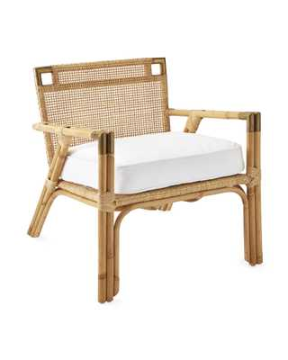 Mattituck Armchair - Perennials Basketweave White - Serena and Lily
