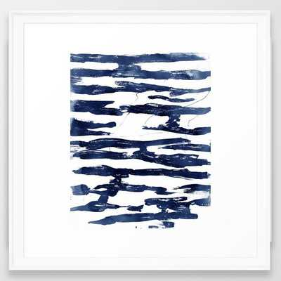 Abstract Waves in Blue Framed Art Print - Society6