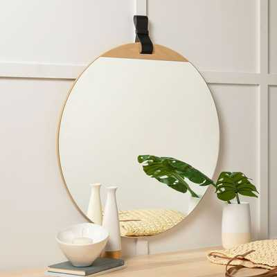 "Leather Strap Hanging Mirror, 33""x30"" - West Elm"