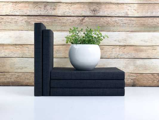 Set of 3 Decorative Books- Textured Black - Havenly Essentials