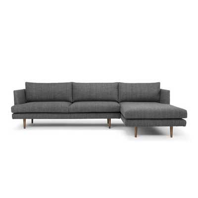 "112"" Sofa & Chaise - Venga Dark Gray Polyester Blend - Right  Hand Facing - Wayfair"
