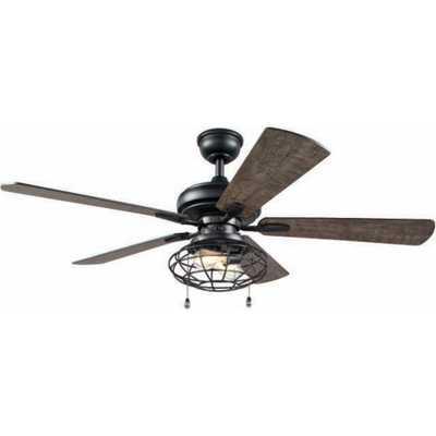 Ellard 52 in. LED Matte Black Indoor Ceiling Fan with Lights - Home Depot