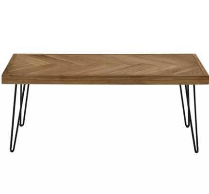 Modern Hairpin Legs Design Wooden Coffee Table - Textured Wood - Wayfair