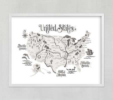 Pirate Map Wall Art by Minted(R), Gray, 40x30 - Pottery Barn Kids