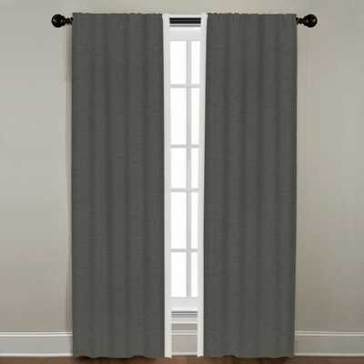 """Linen Border Drapery Single Panel, Quarry with Snow, 72"""" - Havenly Essentials"""