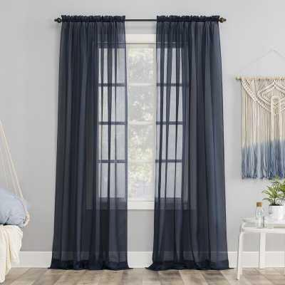 "Emily Solid Color Sheer Rod Pocket Window Single Curtain Panel - 84"" L - Wayfair"