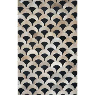 Zwilling Geometric Handmade Cowhide Beige/Black Area Rug - Wayfair
