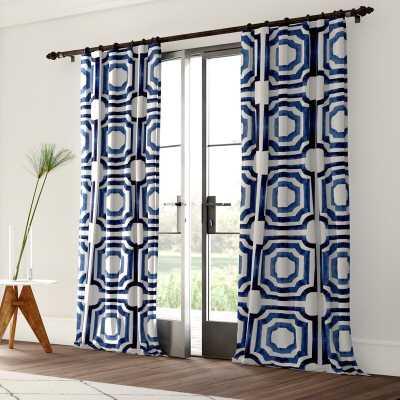 Donato Cotton Geometric Room Darkening Rod Pocket Single Curtain Panel - Wayfair