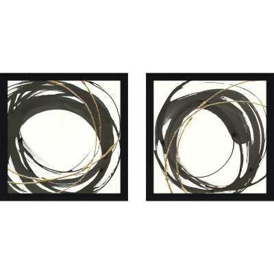 'Gilded Enso III' 2 Piece Framed Acrylic Painting Print Set - Wayfair