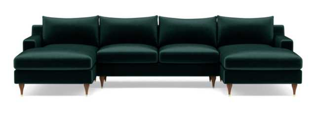 "Sloan U-Sectional // Malachite Mod Velvet // Oiled Walnut and Brass Cap Stiletto Leg // 133"" // Standard Chaise // 2 Cushions // Standard Down Blend - Interior Define"