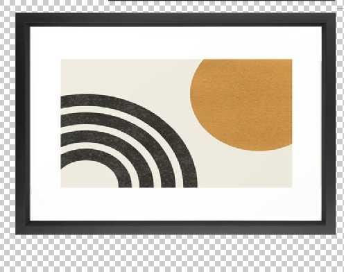 Mid century modern landscape - Sun & Rainbow Framed Art Print - Society6
