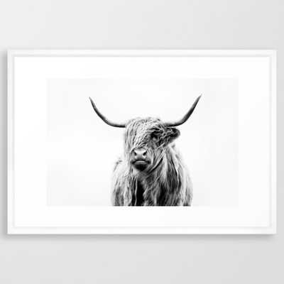 portrait of a highland cow (horizontal) Framed Art Print - Society6