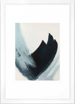 Like A Gentle Hurricane: a minimal, abstract piece in blues and white by Alyssa Hamilton Art Framed Art Print, Vector White, 15 X21 - Society6